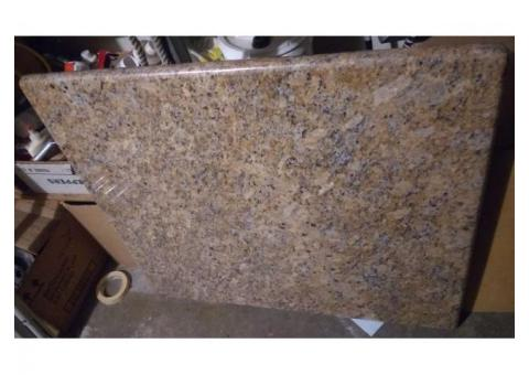 Granite table top on an ikea white computer stand